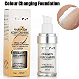 TLM Flawless Color Changing Warm Skin Tone Foundation Base per trucco Nude Face Idratante Liquid Cover Concealer per le donne