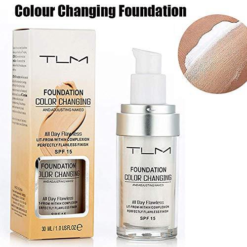 TLM Fondation liquide, Fond de teint changeant de couleur - Base de maquillage Nude - Correcteur de...