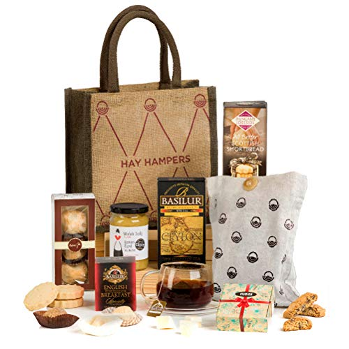 Hay Hampers Tea Time Delights - Tea & Biscuits Hamper Gift Idea in a Reusable Hand Bag for Her