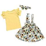 Moneycom niño a la Edad Inferior para niñas, niñas, Tobillo, Falda Floral, Ropa de Verano, Color Blanco y Amarillo Amarillo 0-6 Meses