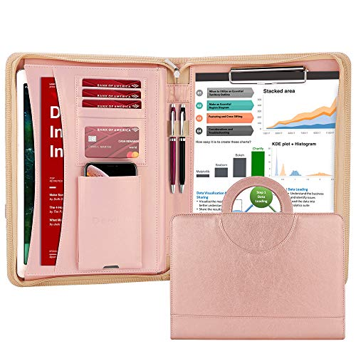 Darolin Zippered Leather Padfolio Portfolio Case with [Hidden Handle] and [Clipboard], Business Conference Portfolio Organizer Notepad Folder, Portfolio Bag, Portfolio Padfolio for Women/Men-Rosegold