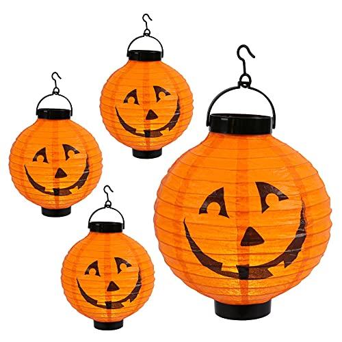 Qedertek Halloween Deko, Kürbis Lampion mit batterie, 20cm Orange Papierlaterne mit Kürbismuster, Halloween Papier Lampion für kinder, Halloween Lampion Mit Haken deko für Garten, Traufe (4 Pack)