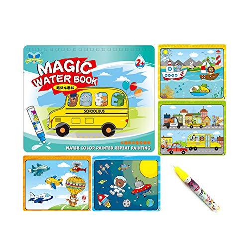 Sipobuy Magic Water Drawing Book Agua Libro para Colorear Doodle con Magic Pen Tablero de Pintura para niños Educación Dibujo Juguete (Vehículo)