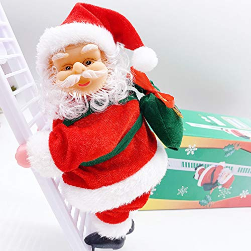 Electric Santa Climbing Ladder to Tree, Climbing Up and Down Santa Claus on Ladder with Music and Bag of Presents Tree Holiday Party Home Door Wall Decoration Xmas Ornament Toys Gift