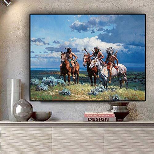 ganlanshu Rahmenloses GemäldeIndian Walking Horse Portrait Gemälde Leinwand Poster Drucke Fresko Nordic30X45cm