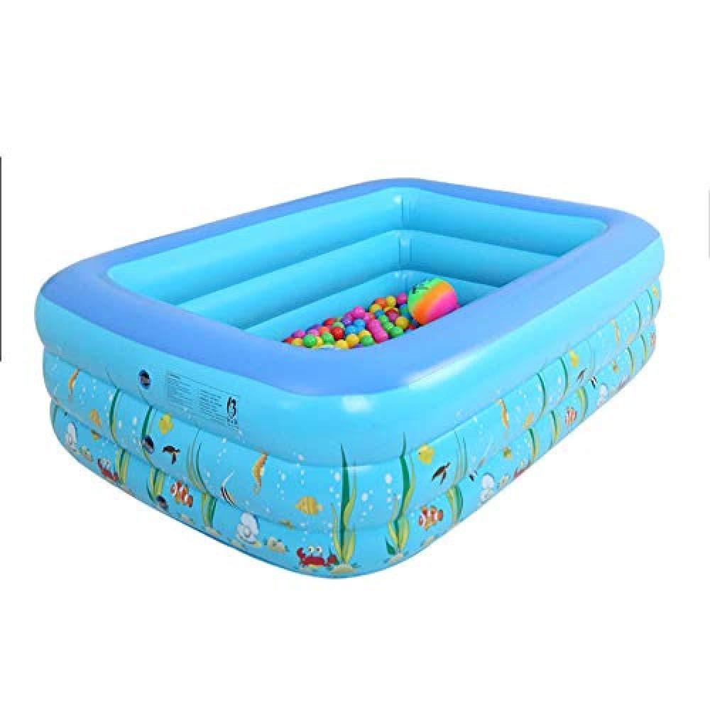 Piscina Infantil Inflable Rectangular para niños, Familia, Tres ...
