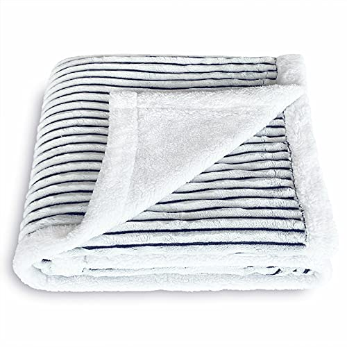 SOCHOW Sherpa Fleece Throw Blanket, Super Soft Fluffy Warm Stripe Plush Blanket for Sofa Couch Bed 60 x 80 Inches, Blue/White