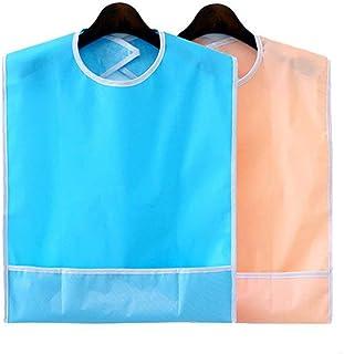 2 stücke wasserdichte erwachsene lätzchen wiederverwendbare mahlzeit schutz waschbare kleidung verschütten behinderung hilfe schürze sky blue  orange pink