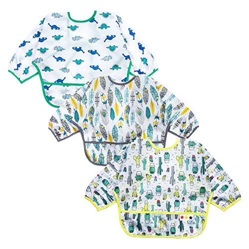 Baby Bibs Long Sleeved 624 Months  Waterproof Bibs for Babies  Unisex 3Pack Full Coverage Apron Bib Smock Toddler bibs with Pocket  Washable Stain and Odor ResistantCactus Dinosaur Feather