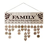 Joy-Leo Gifts for Moms Dads - Wooden Family Birthday Reminder Calendar Board [100 Wood Tags With Holes / Family with Sayings Pattern ], Laser Engraved, Decorative Birthday Tracker Plaque Wall Hanging