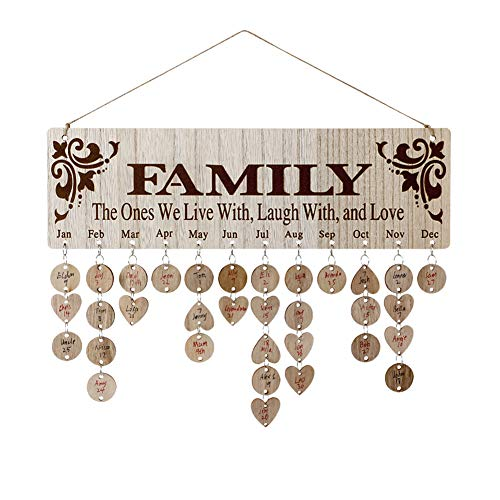 Joy-Leo Gifts for Moms Dads - Wooden Family Birthday Reminder Calendar Board [100 Wood Tags with...