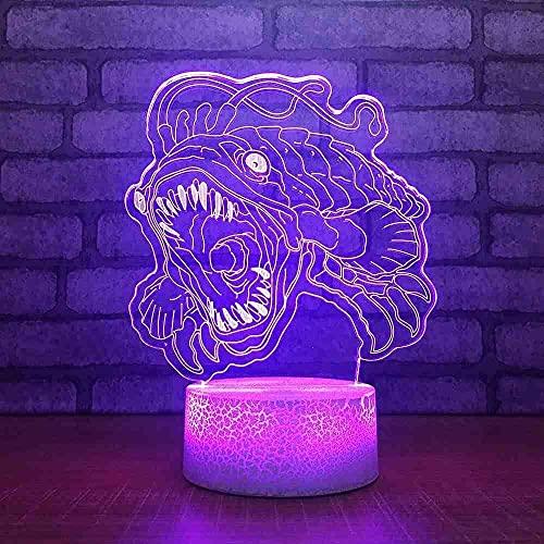 3D LED Night LightCartoon piraña7 colores que cambian la luz de la Navidad del aeroplano Lámpara de escritorio de acrílico para regalo de los niños-7 color touch