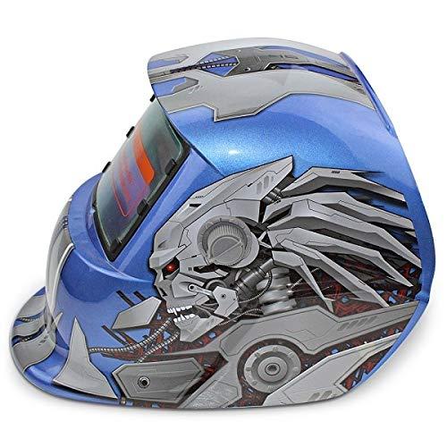 ZHQHYQHHX Caretas para soldar Patrón de reinicio Rojo/Azul de protección Casco del Soldador máscara de la máscara de energía Solar automático cambiable Electric Light Casco de Soldadura