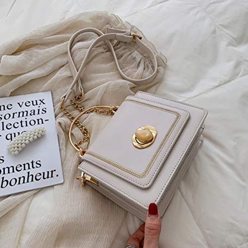 Hzryc Monocromo Mini Bolso Bandolera De Cuero De Las Mujeres del Verano Bolsas De Mensajero Y Bolsos De La Mujer,Beige,19x8x15cm