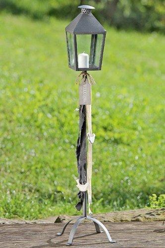 Boltze lantaarn op voet ca. 90 cm H speciale editie 1 stuk met bord Welcome