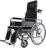 Busirsiz Silla de Ruedas Completo Lie Multi-función de Transporte portátil Plegable de Aluminio Silla de Viajes de Transporte for IR al baño de Ancianos discapacitados