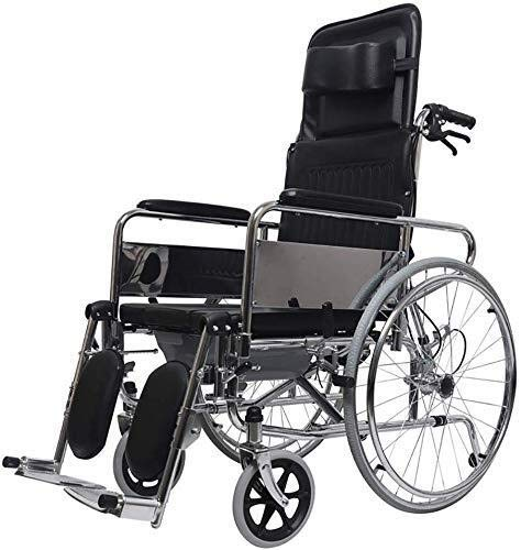 JF-XUAN Silla de Ruedas Completo Lie Multi-función de Transporte portátil Plegable de Aluminio Silla de Viajes de Transporte for IR al baño de Ancianos discapacitados