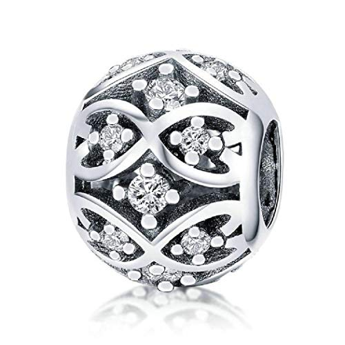FeatherWish 925 Sterling Silver Vintage Style Celtic Bead Charm With Cubic Zirconia Fits Pandora Bracelet