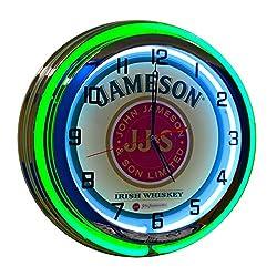 Jameson Whiskey Neon Clock - 19 inch Diameter Double Neon (Green and White Neon Tubes)