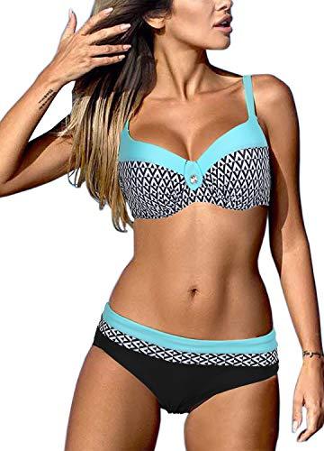 Bequemer Laden Damen Bikini Sets Bademode Badeanzug Push Up Bikini mit Verstellbarem Schulterriemen, Blau-a, XL