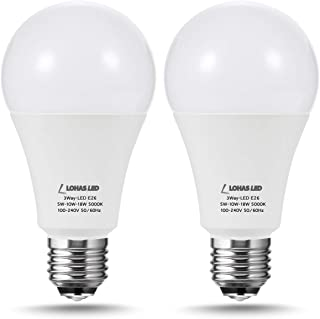 LOHAS 50/100/150W Equivalent 3-Way LED Light Bulb A21 Daylight 5000K, LED Frosted Light Bulbs 3Way, E26 Base 50W LED Bulb for Floor Lamp, 150Watt Light Bulb for End Table, Night Stand Lamps, 2Pack