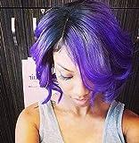 Ombre Purple Human Hair Bundles Wet Curly Bob Wave 8 Inch Brazilian Two Tone 3 Bundles T1B/Purple Loose Deep Wave Sew in Hair (8 inch body wave)