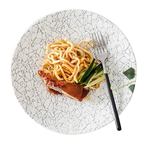 platos De Desayuno Ensalada Europea Ramen Plano Redondo Pasta De Cerámica Comida Occidental Decoración De Interiores Cerámica (Color : Blanco, Size : 23.5 * 2.8cm)