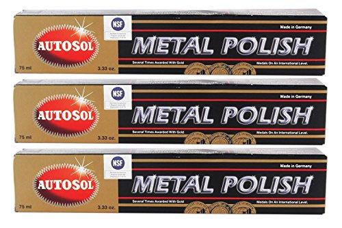Autosol Metal Polish Chrome Shine 75ml, Paquete de 3