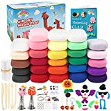 HOLICOLOR 28 Colors (0.64 Ounce Per Pack) Air Dry Clay Includes Extra 3 White Clay Packs with Accessories Sets and Tools, Magic Modeling Clay Kits, Kids Gifts Art Set for Boys Girls