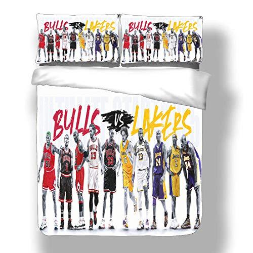 Smallgrid Duvet Cover Set Michael Chicago Basketball Player 23 Bedding Air Jordan Bulls Super Star Double Pump Baseline Quilt Coverlet with 2 Pillow Shams Washington MJ His Airness Wizards