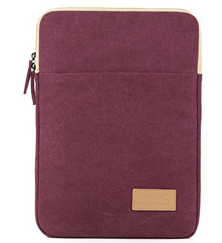 Kinmac Wine Red Canvas Vertical Style Waterproof Laptop Sleeve with Pocket for 13.3 inch-13.5 inch Laptop and Old MacBook Air 13',Old MacBook Pro 13',Microsoft Surface Laptop 13.5',Surface Book13.5