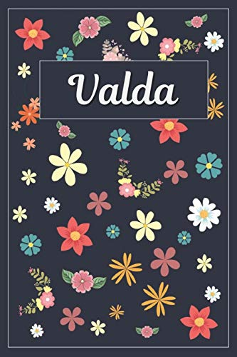 Valda: Lined Writing Notebook with Personalized Name | 120 Pages | 6x9 | Flowers