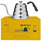 Barista Warrior Stainless Steel Pour Over Coffee & Tea Kettle with Thermometer for Exact Temperature...