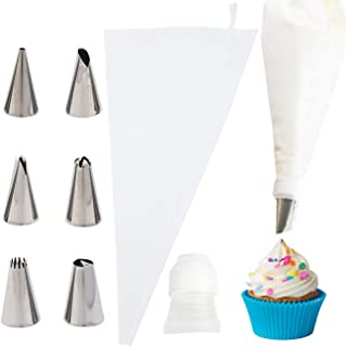 Reusable Pastry Bags,Piping Bags and Tips,Cake Decorating Supplies Kit,Piping Bag With 6 Decorating Tips 1 Couple for Baking Cookie Cake Cupcake Candy Decoration Royal Frosting