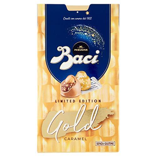 Perugina Baci Limited Edition Gold Caramel Carmel weiße Schokolade Pralinen gefüllt mit Haselnüssen Gluten-frei 150g