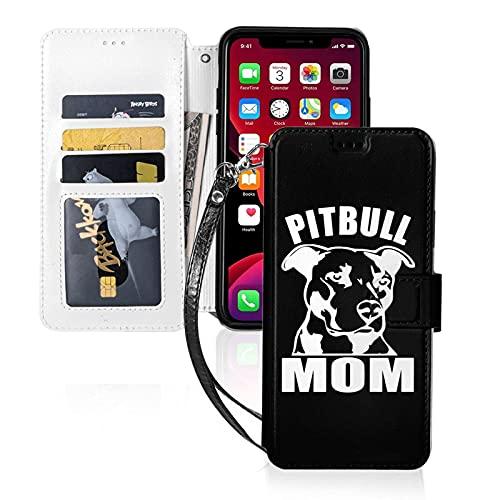 Estuche para teléfono LINGF,Estuche para mamá Pitbull para iPhone 11 Pro MAX Estuche Lindo para Mujeres,Hombres,Billetera,Estuche de Cuero con Correa,Estuche Protector