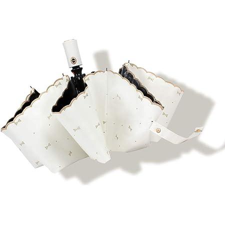 折りたたみ傘 ワンタッチ自動開閉 日傘 レディース 晴雨兼用 uvカット 完全遮光 折り畳み傘 耐風撥水 紫外線遮断 8本骨 収納ポーチ付き