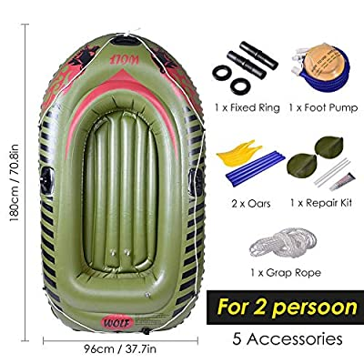 Inflatable Boat Set, PVC Kayak Inflatable Canoe Boat with Paddle Air Pump, PVC Inflatable Drifting Fishing Boat, with Paddle and Air Pump-2People