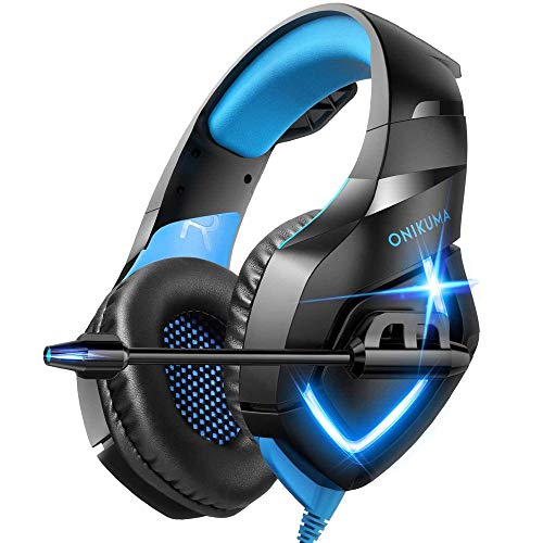 ONIKUMA K1 PS4 Headset, Xbox One Headset, Over Ear Headphone with Noise Cancelling Mic, Soft Earmuff, Gaming Headphone for PS4/Xbox One(Adapter Not Included)/PC, Blue