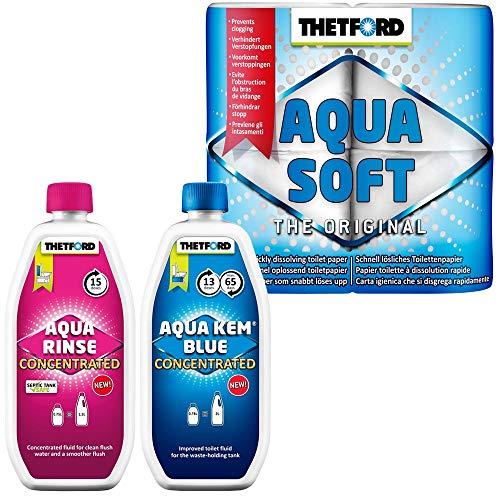 Thetford Set Camping WC-Chemie Aqua KEM Blue Concentrated+Aqua Rinse Concentrated mit Toilettenpapier Aqua Soft