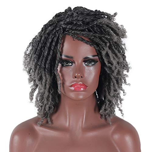 BUKOO 6 Inches Dreadlock Wig 2 Tone Ombre Silver Gray Short Kinky Twist Wigs for Black Women Shoulder Length Curly Synthetic Wig for Afro Women and Men Cosplay Party Wig