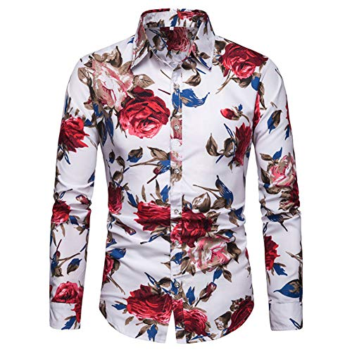Blumen Hemden Herren Bunte Hemden Langarmhemd Muster Freizeitshemd Langarm Casual Shirt (L, Weiß)