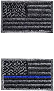 2 Pieces Tactical USA Flag Patch -Black, Gray- American Flag US United States of America Military Uniform Emblem Patches -Thin Gray, Blue Line