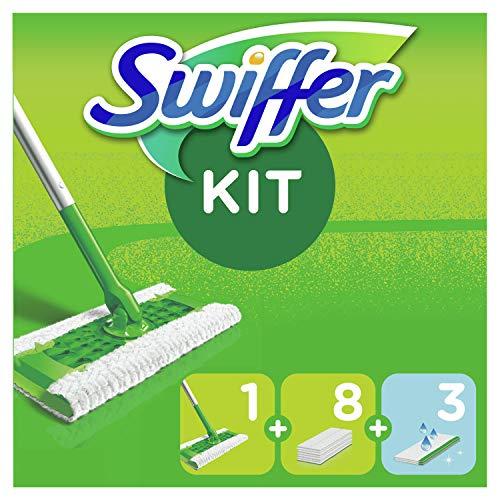 Swiffer Bodenwischer Starterset mit 1 Bodenwischer + 8 Trockenen Bodentüchern + 3 Feuchten Bodentüchern
