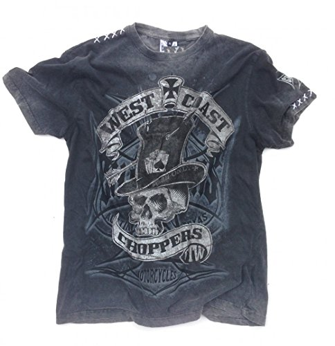 West Coast Choppers T-Shirt Cash Only Tee, Color:black/grey;Größe:L