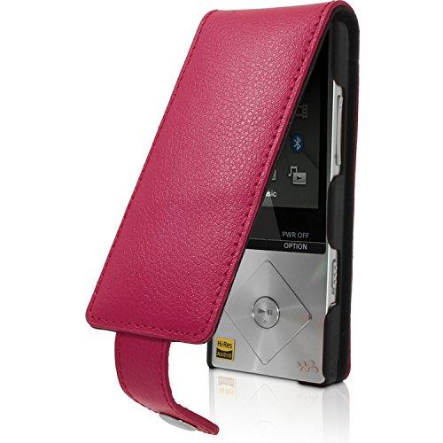 igadgitz U3523Flip Ledertasche Case Cover und Displayschutzfolie Kompatibel mit Sony Walkman NWZ-A15und NWZ-A178GB, 16GB - Rosa
