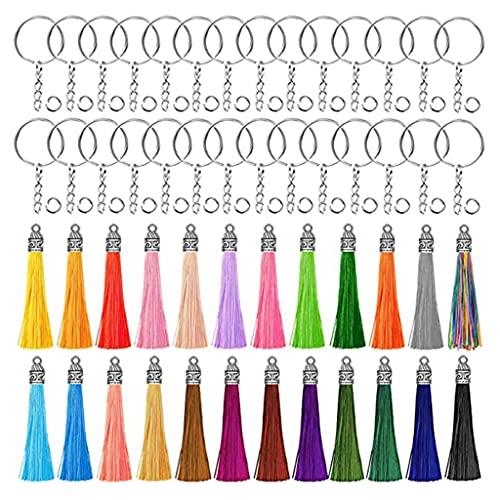 DROHOO 60 Mm Colgantes de borlas de Cuero Joyas Flecos de Fibra Borla de Gamuza sintética para llaveros Correas Accesorios de Bricolaje, Multicolor