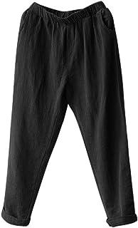 20780e5ce78be SANFASHION Pantalons Pantalon Femme Causal Coton Lin, Ample Fluide  Confortable Plage Casual Pants