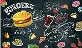Papel tapiz Pintado a mano negro hamburguesa pizza restaurante de imagen restaurante de comida rápida carrito de helados tienda de postres cafetería cartel mural-250cmx175cm(LxA)