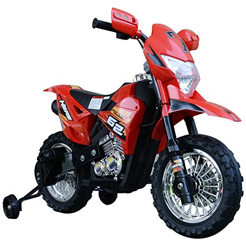 HOMCOM Elektro-Motorrad Kindermotorrad Elektrofahrzeug 3 bis 6 Jahre 3–6 km/h MP3 Musik LED-Licht Sound Metall + Kunststoff Rot 107 x 53 x 70 cm